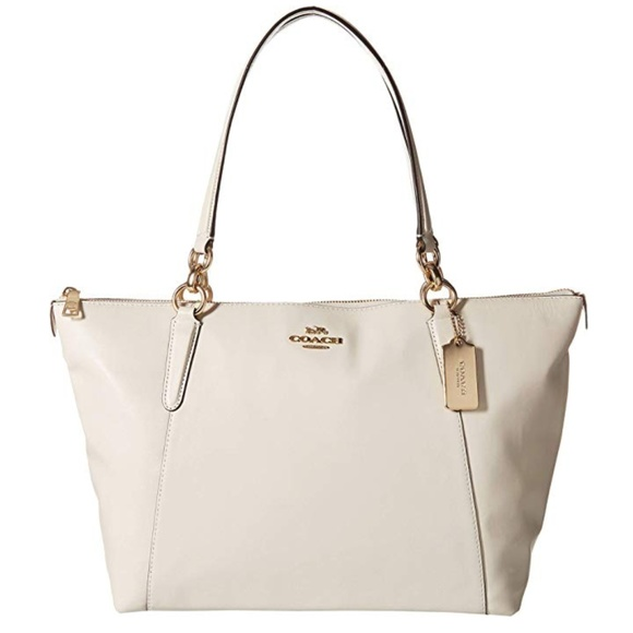 Handbags - COACH leather bag white and gold Tote